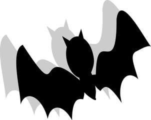 black bat on a white background Halloween card  This is useful for posters, cards, party invitations, coloring books.
