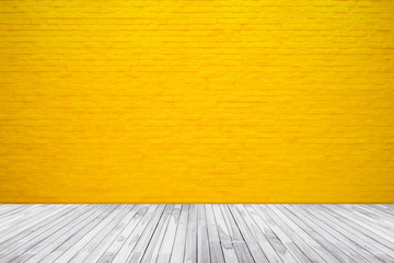 In de dag Historisch geb. Yellow brick wall texture with wood floor background