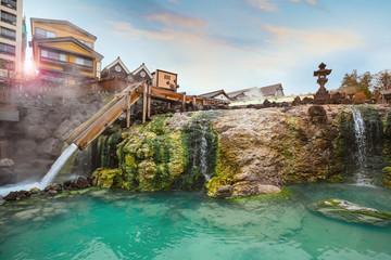 Yubatake hot spring in the middle of Kusatsu Onsen town in Gunma, Japan