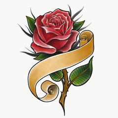 Red rose with banner traditional tattoo design, Hand drawn old school tattoo style roses with ribbons isolated on white background.