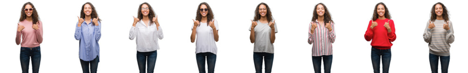 Composition of young brazilian woman isolated over white background success sign doing positive gesture with hand, thumbs up smiling and happy. Looking at the camera with cheerful expression.