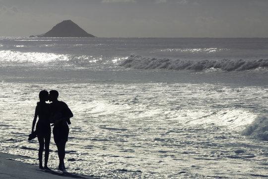 Couple in love on the beach in Rio de Janeiro