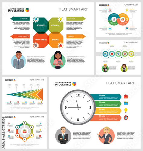 Colorful consulting or marketing concept infographic charts