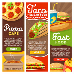 Fast food pizza and Mexican tacos delivery menu