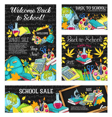 Fotobehang Graffiti collage Back to school sale banner or discount card design