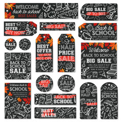 Back to school sale tag and discount label design