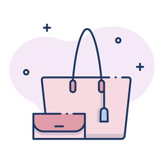 Hand bag LineColor illustration