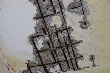 repair in the old house, old broken walls and ceiling