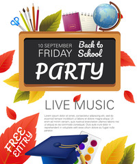 Free entry, back to school party flyer design with globe, graduation cap, fall foliage and school supplies. Text can be used for leaflets, brochures, banners, posters