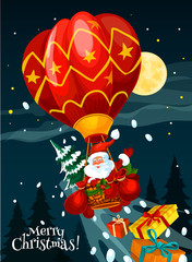 Christmas card of Santa with gift in air balloon