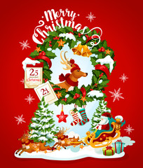 Christmas holiday banner with Santa and reindeer