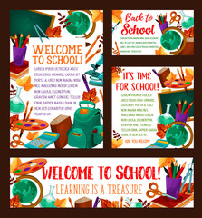 Back to School vector education banner poster