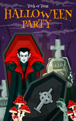 Halloween vampire card for horror party invitation