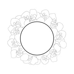 Iris Flower Outline Banner Wreath