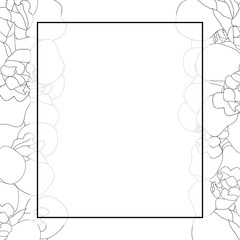 Iris Flower Outline Banner Card Border on White Background