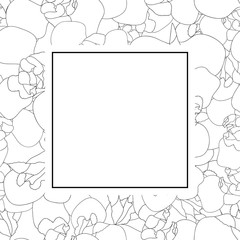Iris Flower Outline Banner Card