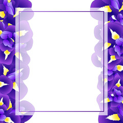 Purple Iris Flower Banner Card Border