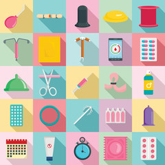 Obraz Contraception Day control pill medication oral test icons set. Flat illustration of 25 Contraception Day control pill medication oral test vector icons for web - fototapety do salonu