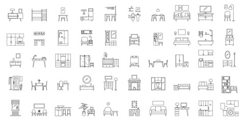 Interior room. Objects in house. Home inside furniture icons set. Outline illustration of 50 Interior room objects house inside furniture vector icons for web