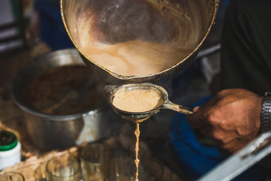 Making Masala Milk Tea in the Street of Nepal