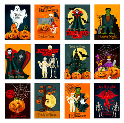 Halloween holiday trick or treat greeting card