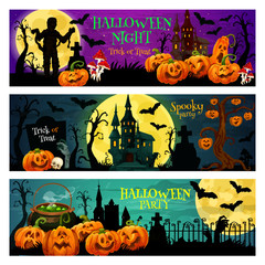 Halloween night party banner with spooky house