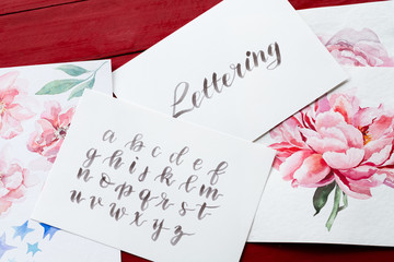 lettering art and calligraphy craft. handwritten italic cursive. drawn alphabet and watercolor floral paintings.