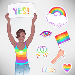 Young African American girl holding banner. Feminist protest concept. LGBT, lesbian woman rights. Vector illustration isolated.
