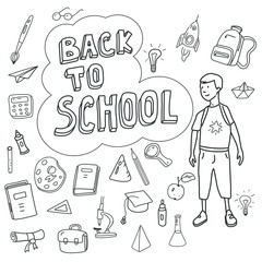 Back to school, poster with doodles drawn by hand, schoolboy goes to school, set of school icons, banner, invitation cards, cartoon style, vector, isolated