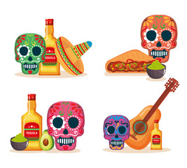 day of the dead masks with culture icons