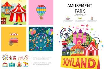 Cartoon Amusement Park Infographic Concept
