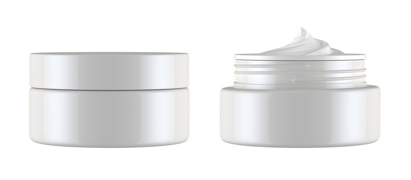 cosmetics jar isolated on white background, 3D rendering