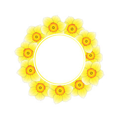 Yellow Daffodil - Narcissus Flower Banner Wreath