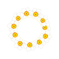White Daffodil - Narcissus Flower Banner Wreath