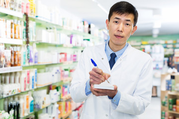 Pharmacist with medicines in pharmacy