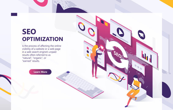 SEO vector isometric background. Optimization process of internet search results for online visibility of website. Concept banner with data analysis, graphs, people at work, template for web page