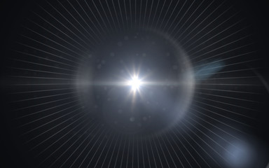 Beautiful blue digital lens flare in black background horizontal frame