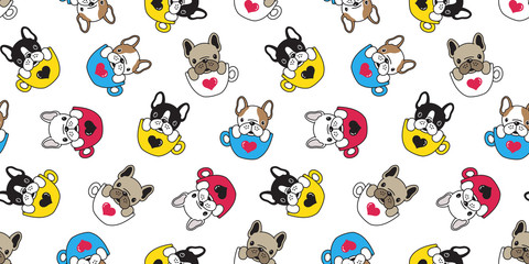 Dog seamless pattern vector french bulldog isolated pug coffee cup heart valentine background wallpaper