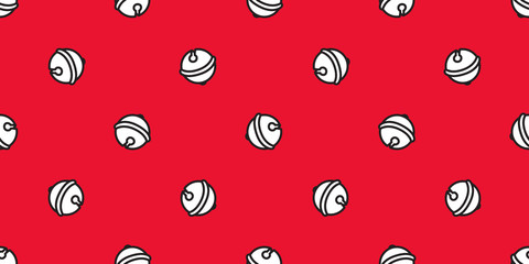 bell Seamless pattern Christmas vector ring bell icon Happy new year tile background scarf isolated repeat wallpaper red