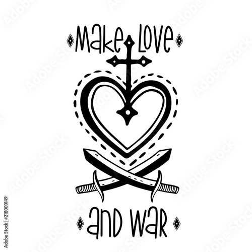 Sketch Graphic Illustration Love And War With Mystic And Occult Hand