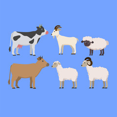 Set of Animal Farming, Sacrifice Animal, Cow, Goat, Sheep, in Cute Illustration Cartoon
