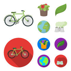 A processing plant, flowers in a pot, a green leaf, a planet Earth.Bio and ecology set collection icons in cartoon,flat style vector symbol stock illustration web.