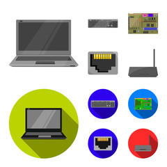 Keyboard, router, motherboard and connector. Personal computer set collection icons in cartoon,flat style vector symbol stock illustration web.