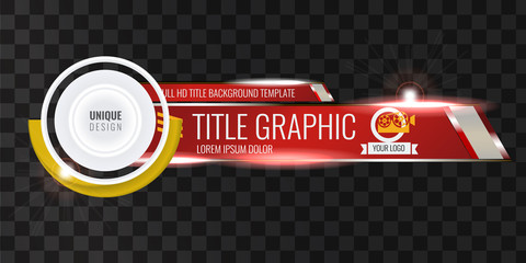 Video headline title or lower third template with flow and bokeh lights effect. Unique banner design for video. Red color.