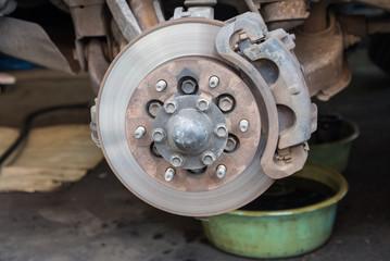 Disc brake repairing in the garage