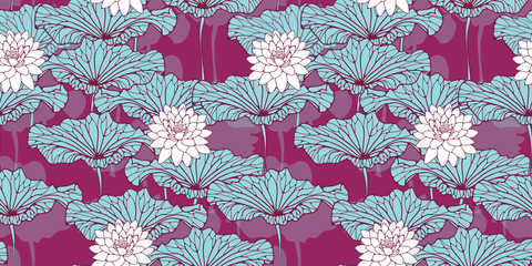 asian style wallpaper pattern with lotus pond in purple and blue