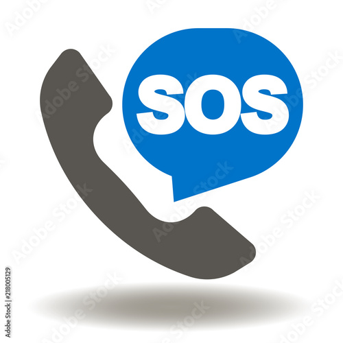 Handset With SOS Talk Balloon Icon Vector Rescue Services Phone Call Illustration Emergency
