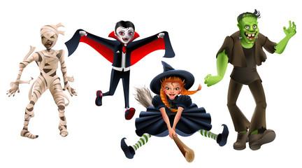 Set Halloween monsters witch on broom, frankenstein, vampire dracula, zombie mummy