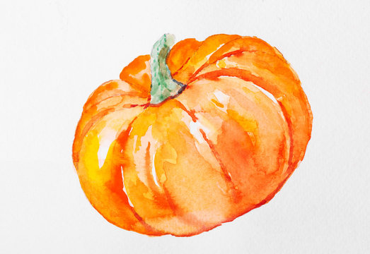 Hand painted watercolor pumpkin for halloween and Fall. Isolated object on white background.