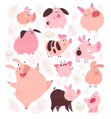 Vector set of funny flat different pig characters design isolated on white background. Collection of friendly smiling pink porks. Farm animals. Perfect for cards, patterns, prints, hero images etc.